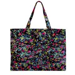 Neon Floral Print Silver Spandex Medium Zipper Tote Bag by Simbadda