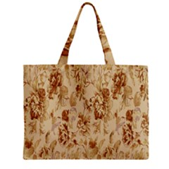 Patterns Flowers Petals Shape Background Zipper Mini Tote Bag by Simbadda