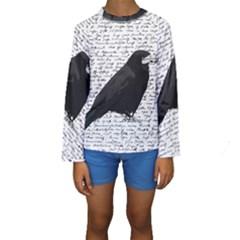 Black Raven  Kids  Long Sleeve Swimwear by Valentinaart