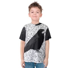 Black Raven  Kids  Cotton Tee by Valentinaart
