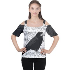 Black Raven  Women s Cutout Shoulder Tee by Valentinaart