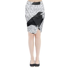 Black Raven  Midi Wrap Pencil Skirt by Valentinaart