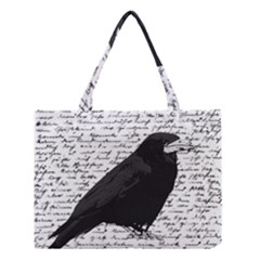 Black Raven  Medium Tote Bag by Valentinaart