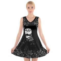 Count Vlad Dracula V Neck Sleeveless Skater Dress by Valentinaart