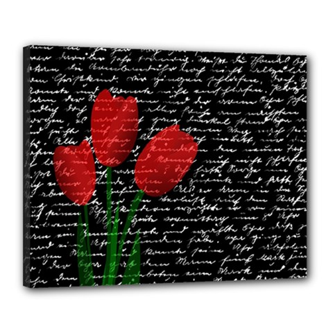 Red Tulips Canvas 20  X 16  by Valentinaart