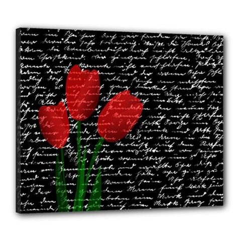 Red Tulips Canvas 24  X 20  by Valentinaart