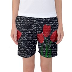 Red Tulips Women s Basketball Shorts by Valentinaart