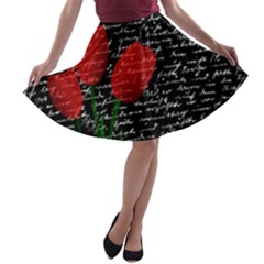Red Tulips A Line Skater Skirt by Valentinaart
