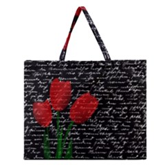 Red Tulips Zipper Large Tote Bag by Valentinaart