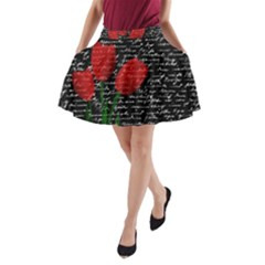 Red Tulips A Line Pocket Skirt by Valentinaart