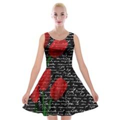 Red Tulips Velvet Skater Dress by Valentinaart