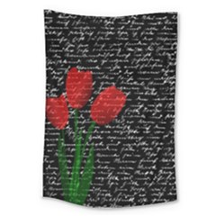 Red Tulips Large Tapestry by Valentinaart