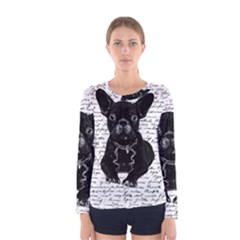 Cute Bulldog Women s Long Sleeve Tee by Valentinaart