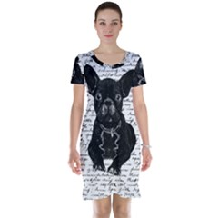 Cute Bulldog Short Sleeve Nightdress by Valentinaart