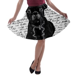 Cute Bulldog A Line Skater Skirt by Valentinaart