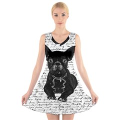 Cute Bulldog V Neck Sleeveless Skater Dress by Valentinaart