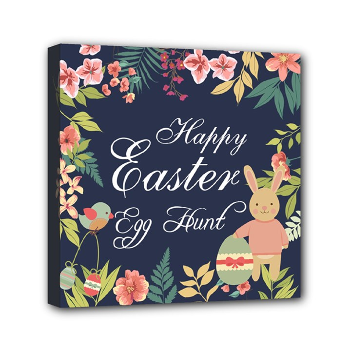 Happy Easter Egg Hunt Flower Mini Canvas 6  x 6  (Framed)