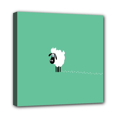 Sheep Trails Curly Minimalism Mini Canvas 8  X 8  by Simbadda