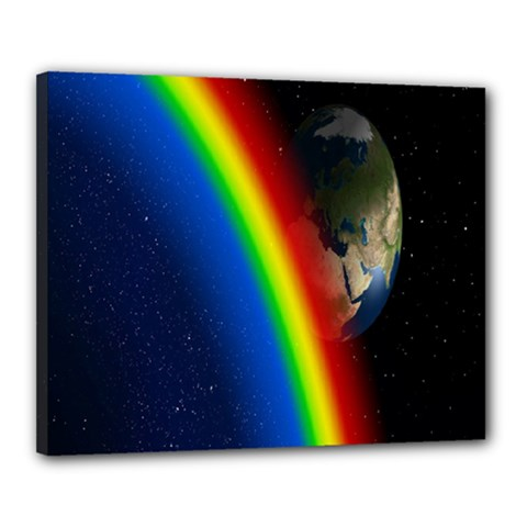 Rainbow Earth Outer Space Fantasy Carmen Image Canvas 20  X 16  by Simbadda