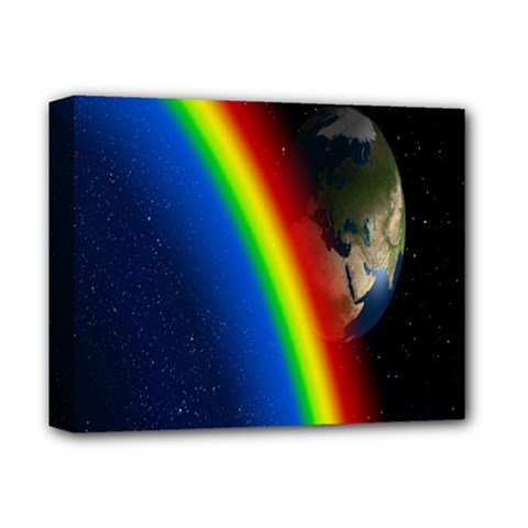 Rainbow Earth Outer Space Fantasy Carmen Image Deluxe Canvas 14  X 11  by Simbadda