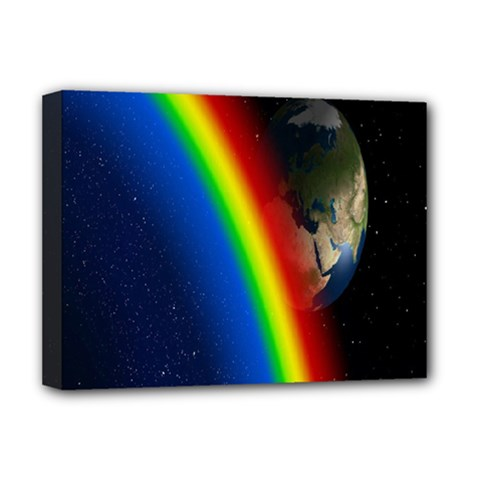 Rainbow Earth Outer Space Fantasy Carmen Image Deluxe Canvas 16  X 12   by Simbadda