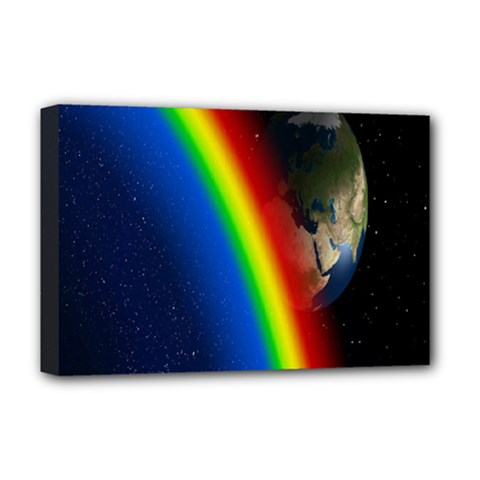 Rainbow Earth Outer Space Fantasy Carmen Image Deluxe Canvas 18  X 12   by Simbadda