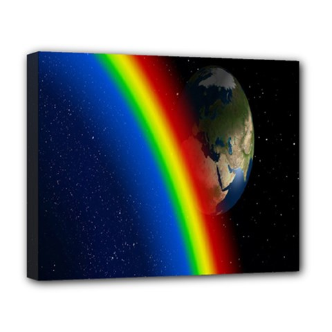 Rainbow Earth Outer Space Fantasy Carmen Image Deluxe Canvas 20  X 16   by Simbadda