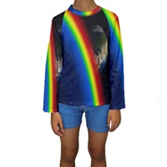 Rainbow Earth Outer Space Fantasy Carmen Image Kids  Long Sleeve Swimwear by Simbadda