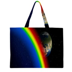 Rainbow Earth Outer Space Fantasy Carmen Image Zipper Large Tote Bag by Simbadda