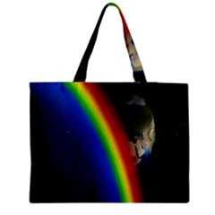 Rainbow Earth Outer Space Fantasy Carmen Image Medium Tote Bag by Simbadda