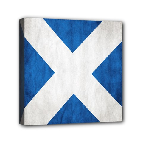 Scotland Flag Surface Texture Color Symbolism Mini Canvas 6  X 6  by Simbadda