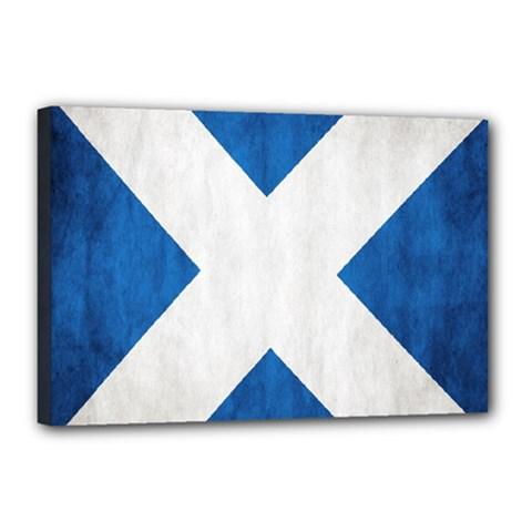Scotland Flag Surface Texture Color Symbolism Canvas 18  X 12  by Simbadda