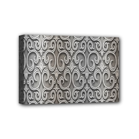 Patterns Wavy Background Texture Metal Silver Mini Canvas 6  X 4  by Simbadda