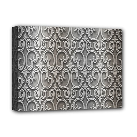 Patterns Wavy Background Texture Metal Silver Deluxe Canvas 16  X 12   by Simbadda