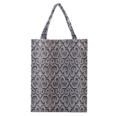 Patterns Wavy Background Texture Metal Silver Classic Tote Bag by Simbadda