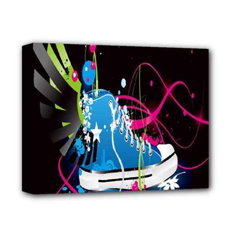 Sneakers Shoes Patterns Bright Deluxe Canvas 14  X 11  by Simbadda