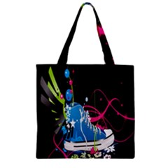 Sneakers Shoes Patterns Bright Zipper Grocery Tote Bag by Simbadda
