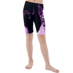 Pink Sphynx Cat Kids  Mid Length Swim Shorts by Valentinaart