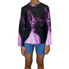 Pink Sphynx Cat Kids  Long Sleeve Swimwear by Valentinaart
