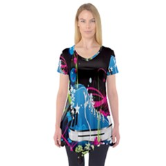 Sneakers Shoes Patterns Bright Short Sleeve Tunic