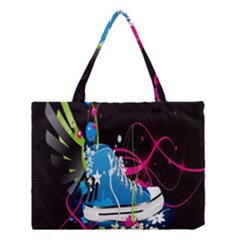 Sneakers Shoes Patterns Bright Medium Tote Bag by Simbadda