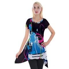 Sneakers Shoes Patterns Bright Short Sleeve Side Drop Tunic by Simbadda