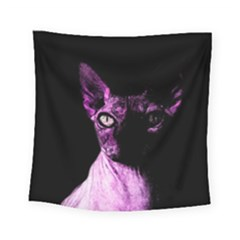 Pink Sphynx Cat Square Tapestry (small) by Valentinaart