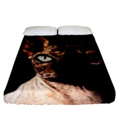 Sphynx Cat Fitted Sheet (king Size) by Valentinaart