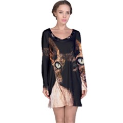 Sphynx Cat Long Sleeve Nightdress by Valentinaart