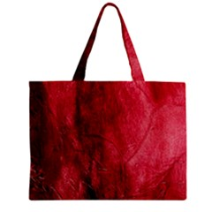 Red Background Texture Zipper Mini Tote Bag by Simbadda