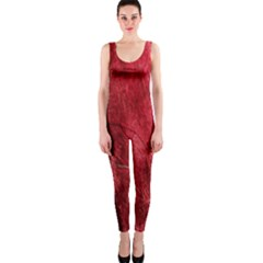 Red Background Texture Onepiece Catsuit by Simbadda