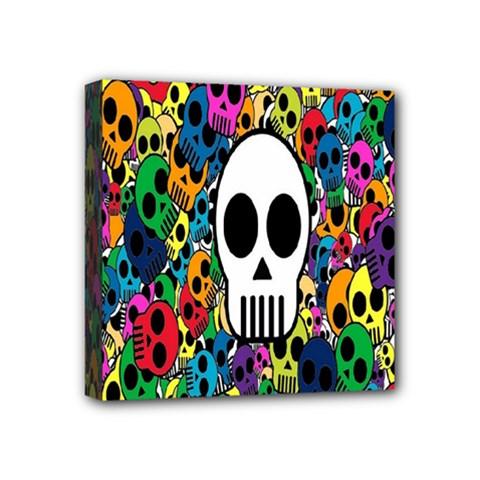 Skull Background Bright Multi Colored Mini Canvas 4  X 4  by Simbadda