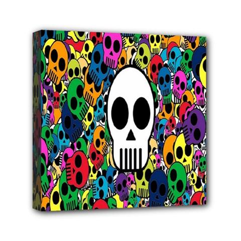 Skull Background Bright Multi Colored Mini Canvas 6  X 6  by Simbadda