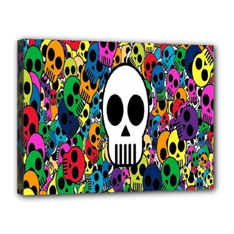 Skull Background Bright Multi Colored Canvas 16  X 12  by Simbadda